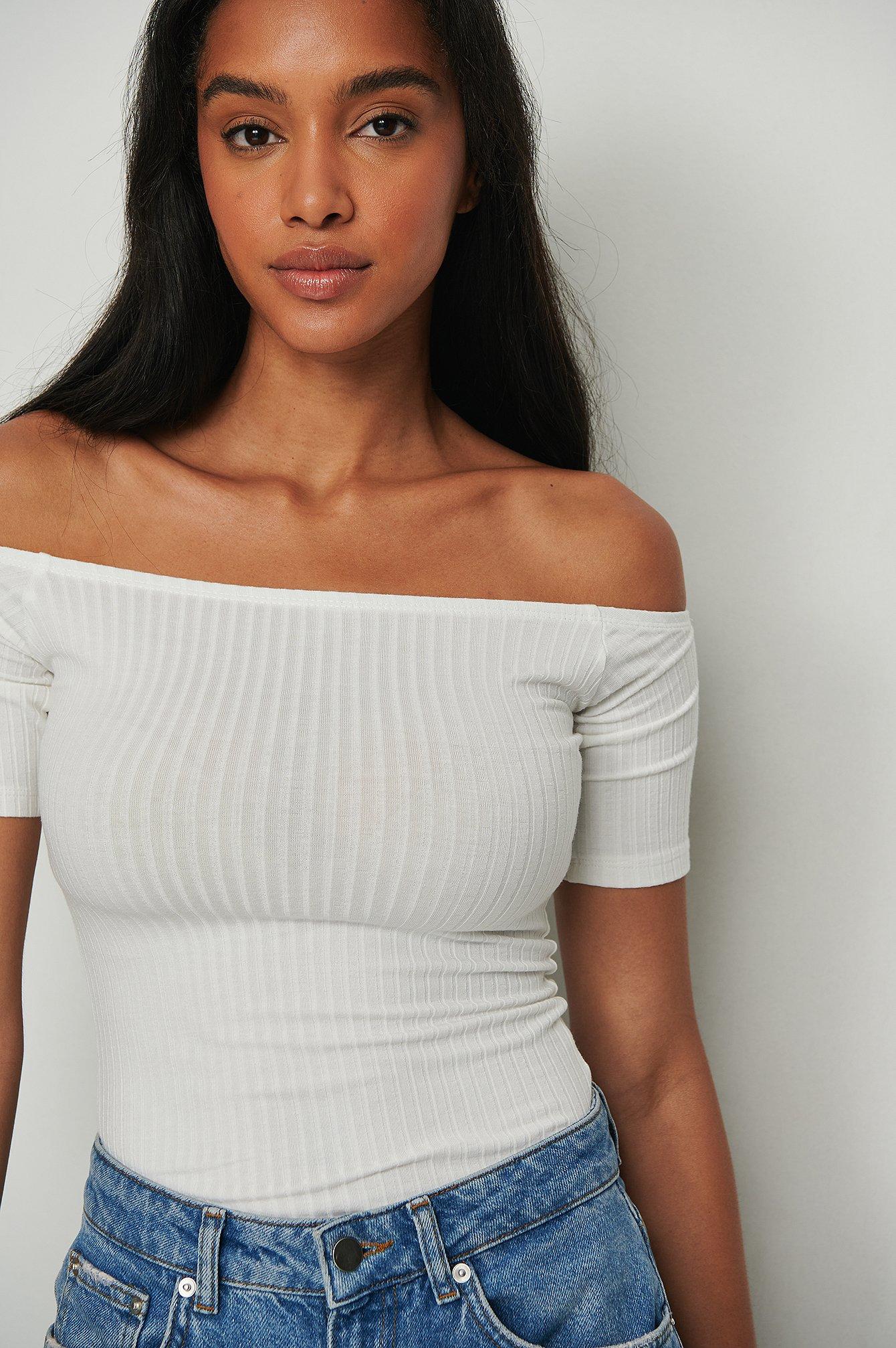 na-kd trend -  Off Shoulder Ribbed Top - White