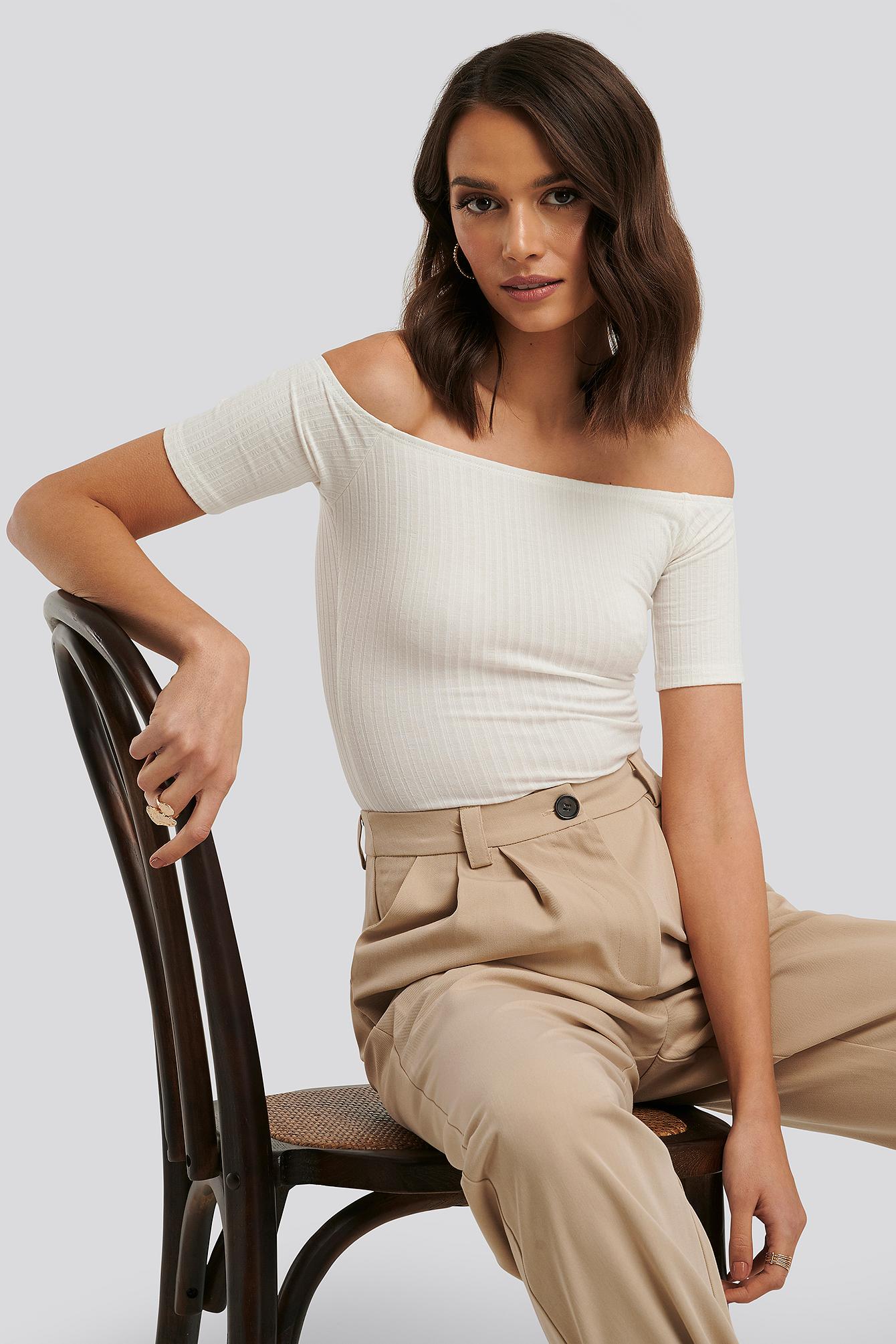 na-kd basic -  Off Shoulder Ribbed Top - White