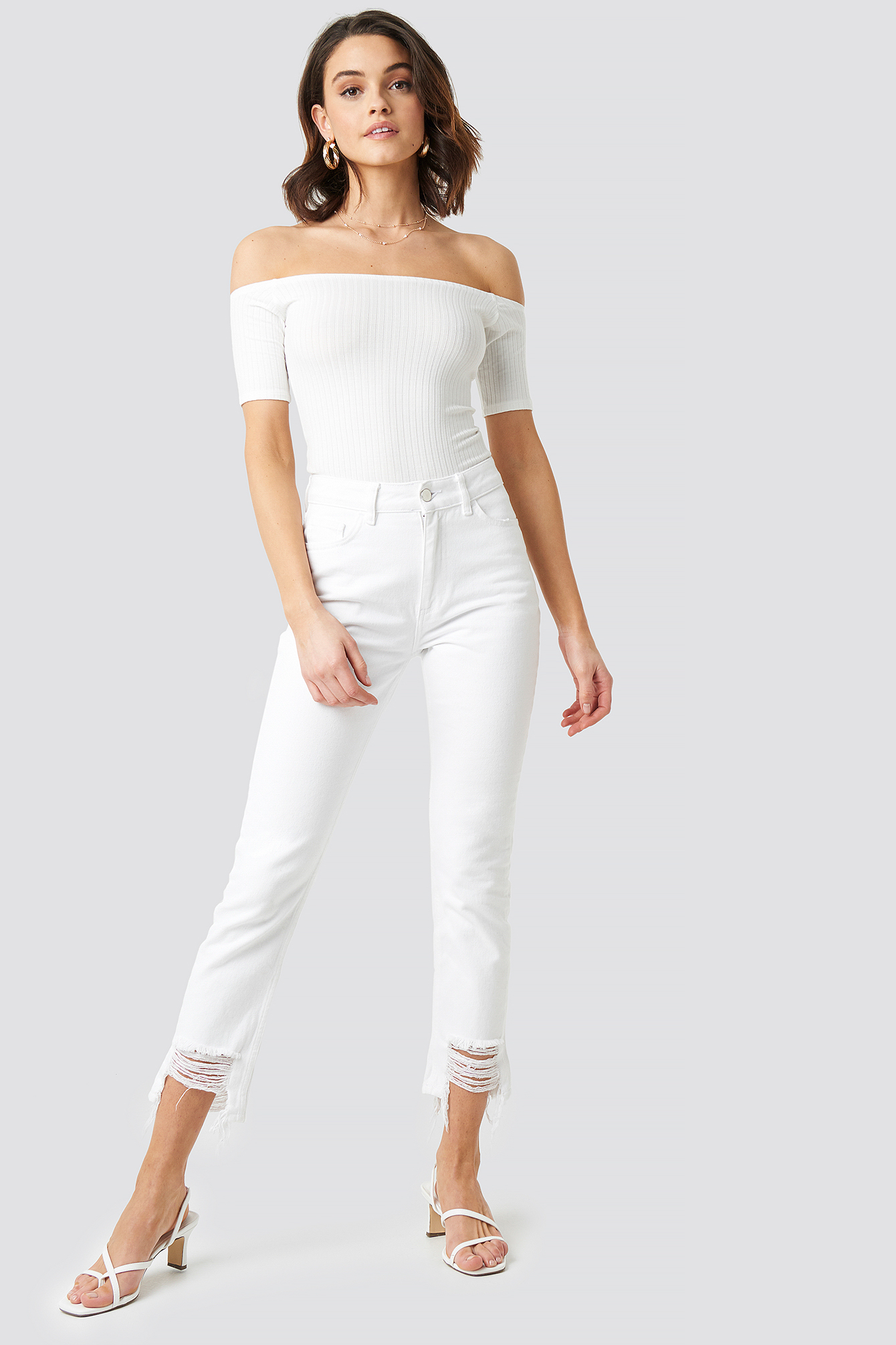 Off Shoulder Ribbed Top NA-KD.COM