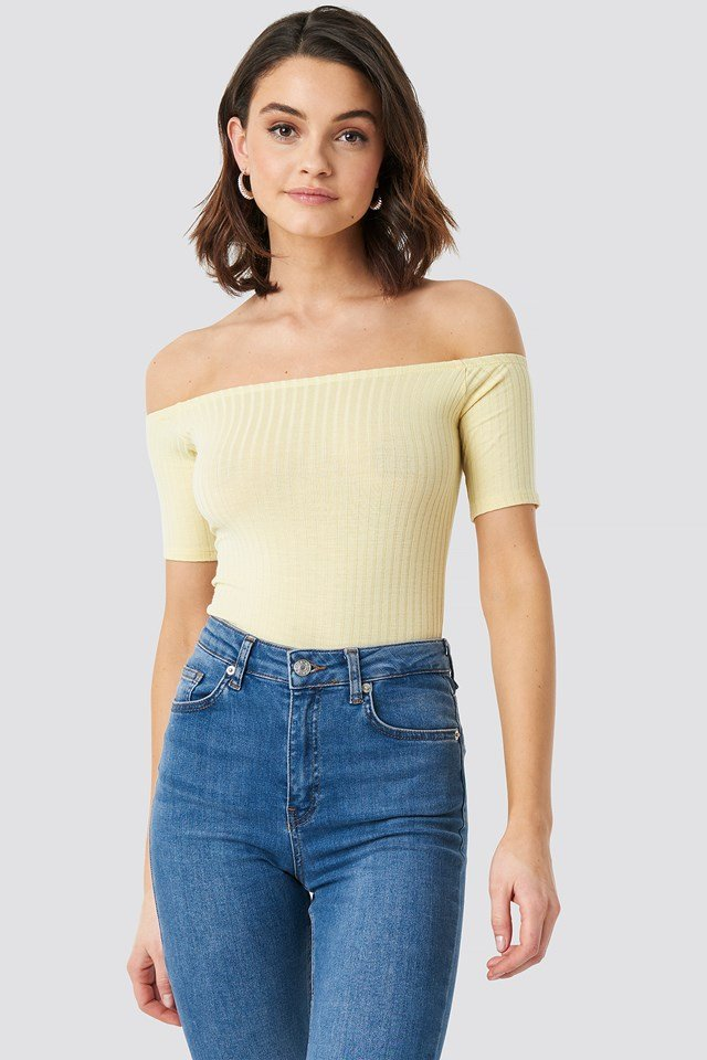 Off Shoulder Ribbed Top Light Yellow