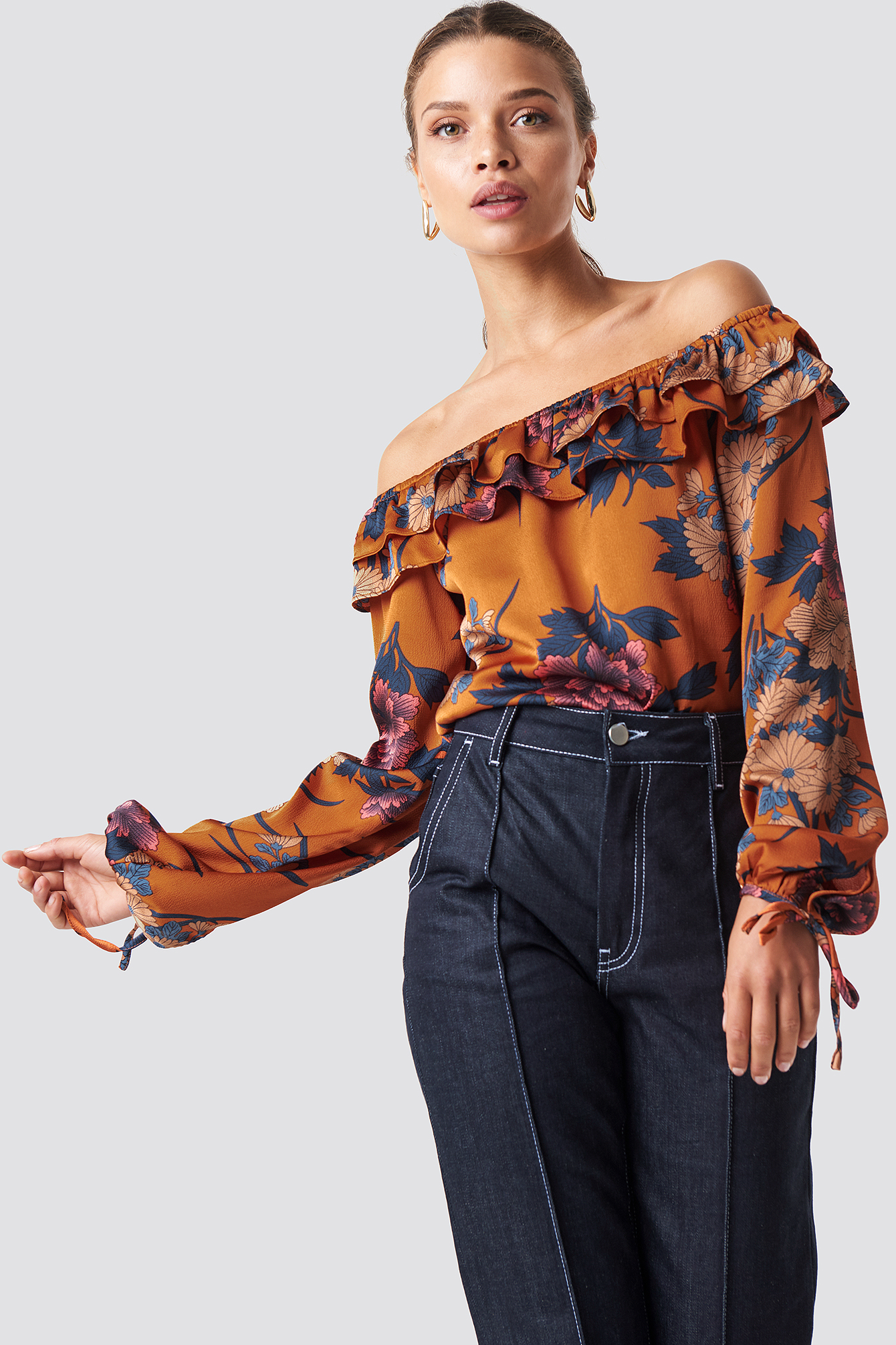 glamorous -  Off Shoulder Ruffle Frill Blouse - Orange