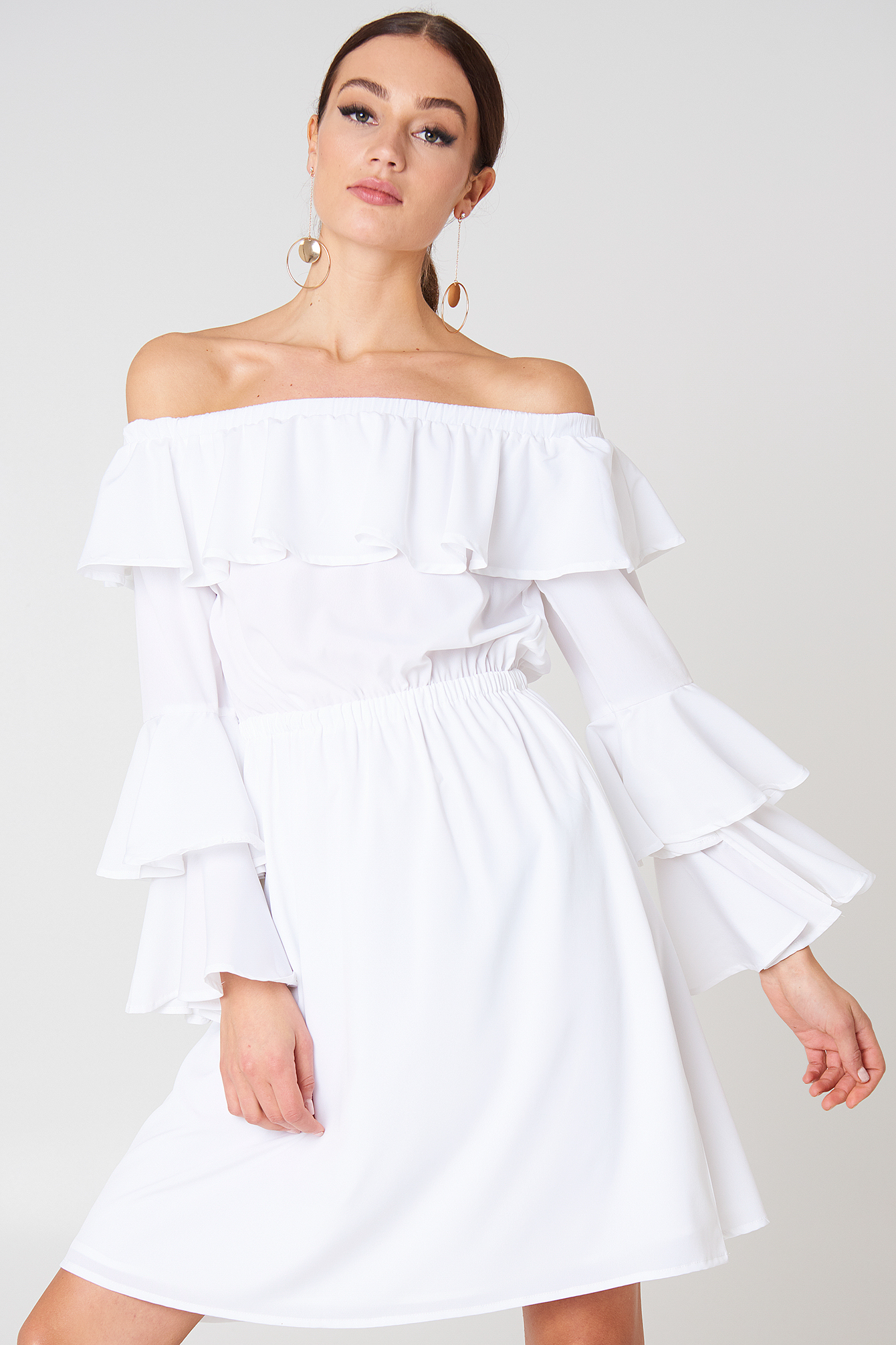 na-kd boho -  Off Shoulder Ruffle Mini Dress - White