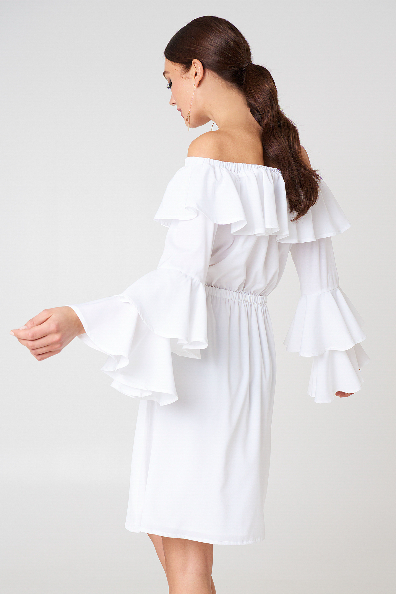 Off Shoulder Ruffle Mini Dress NA-KD.COM