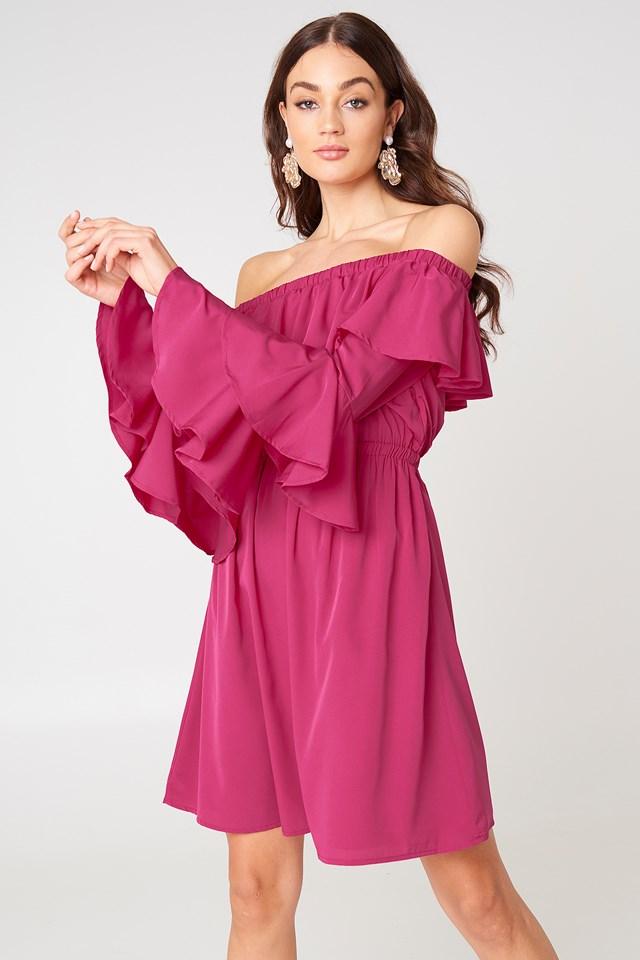 Off Shoulder Ruffle Mini Dress Raspberry