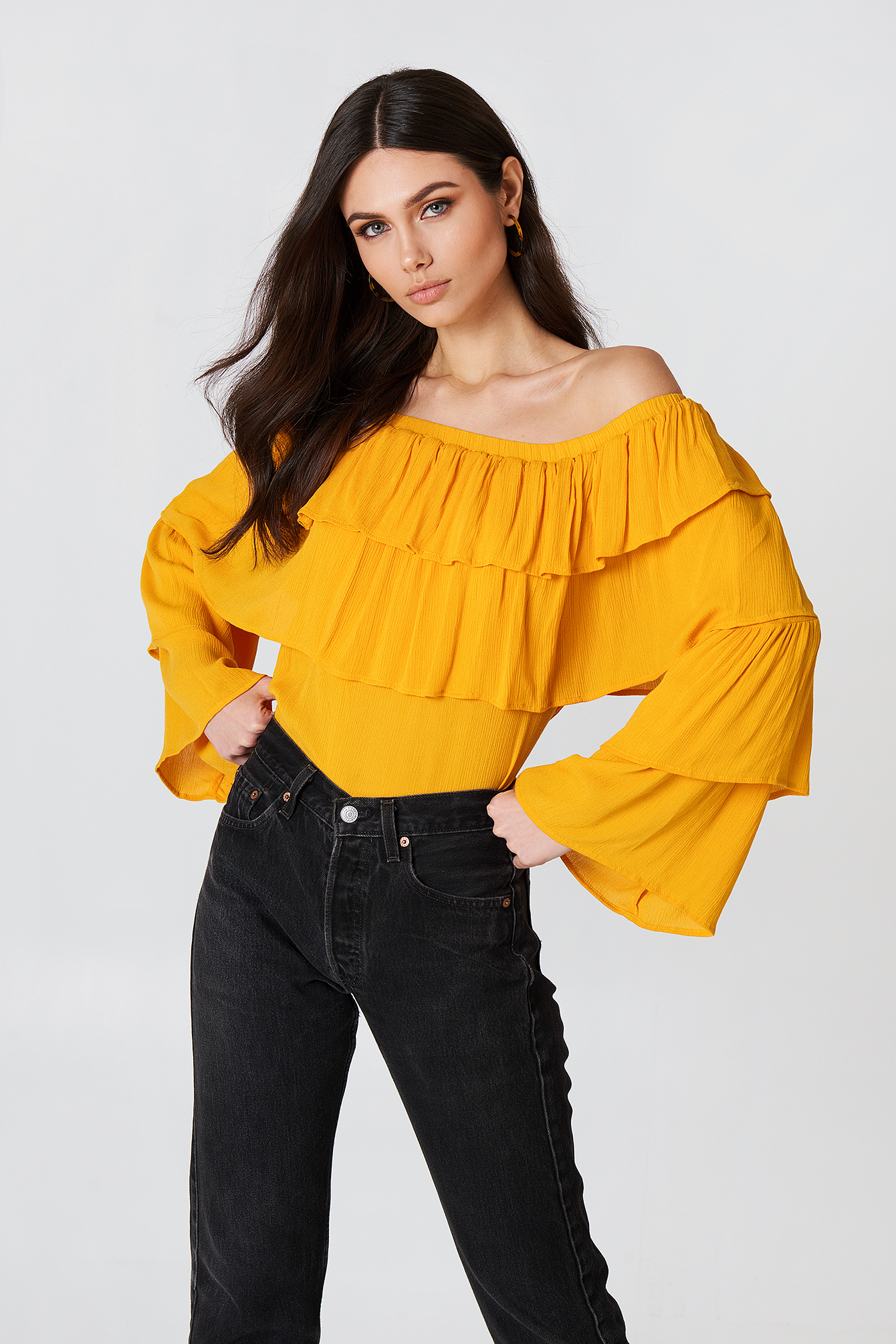 josefin ekström for na-kd -  Off Shoulder Ruffle Top - Orange