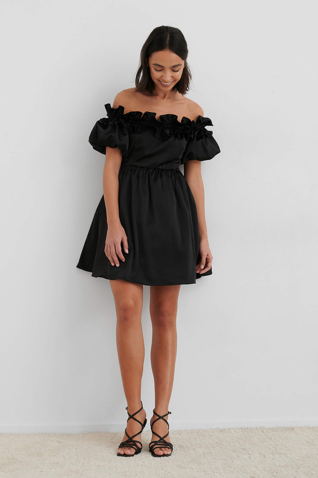 Black Off The Shoulder Satin Dress