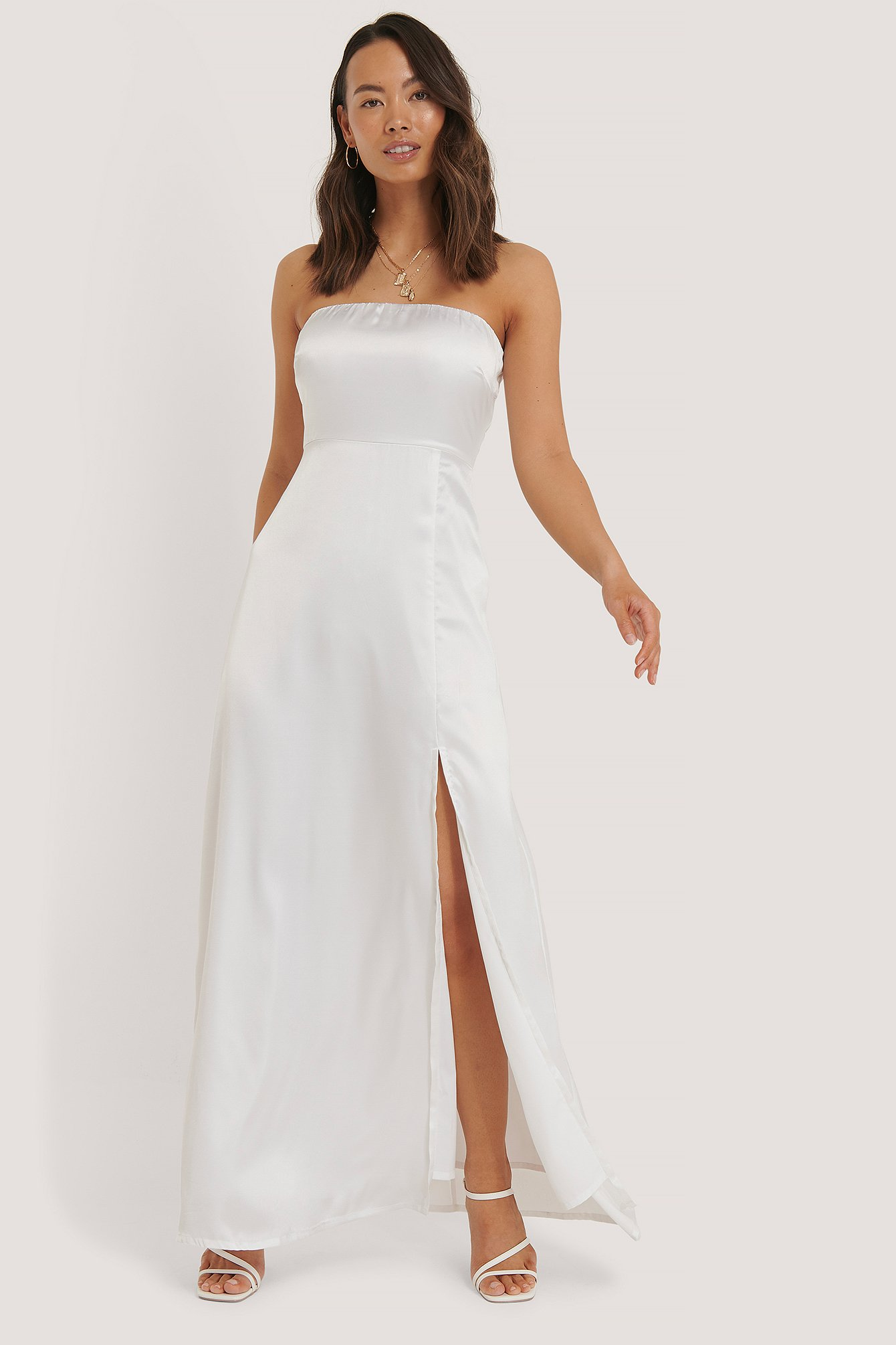 White Off Shoulder Satin Slit Dress