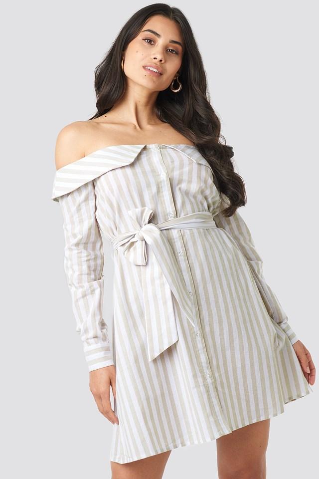 Off Shoulder Shirt Dress Beige