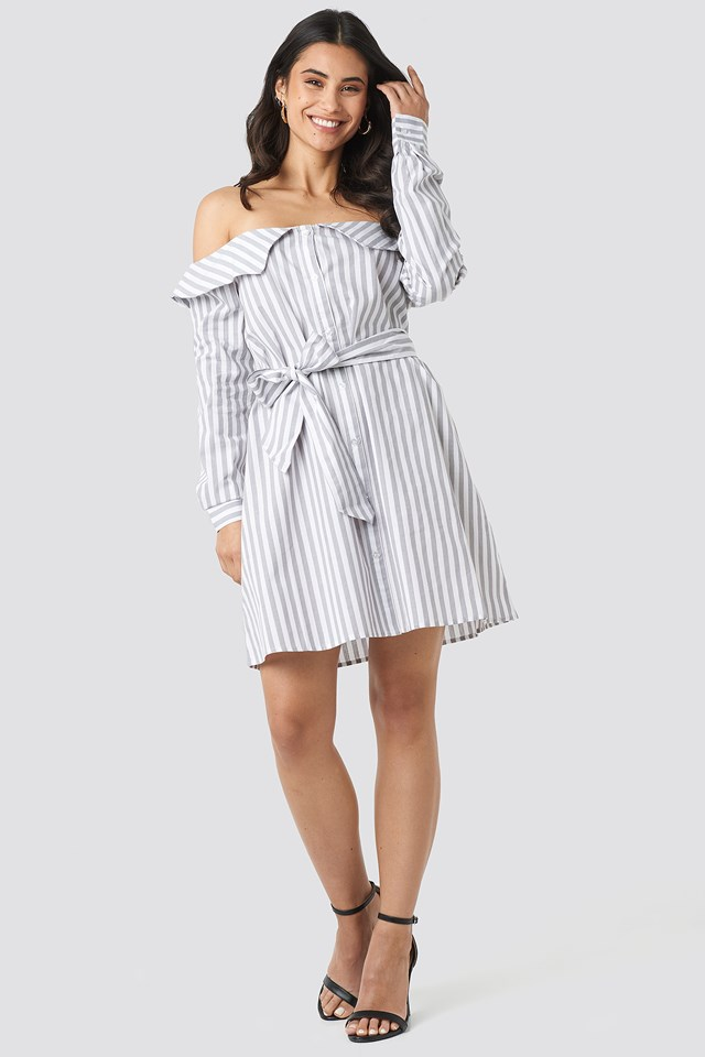 Off Shoulder Shirt Dress Grey