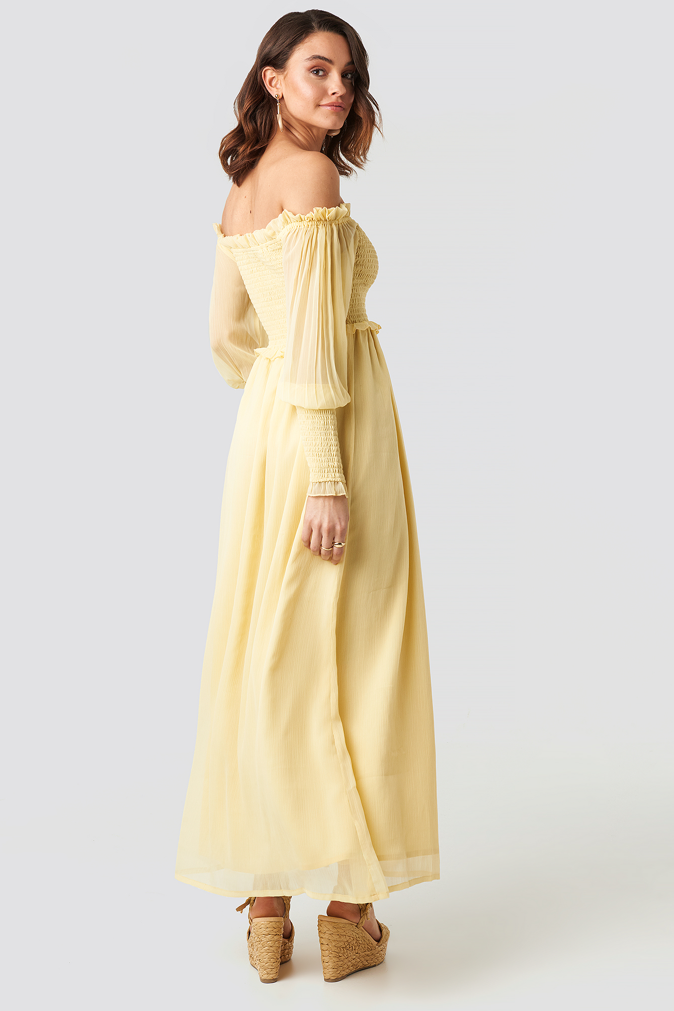 Off Shoulder Smock Chiffon Dress NA-KD.COM