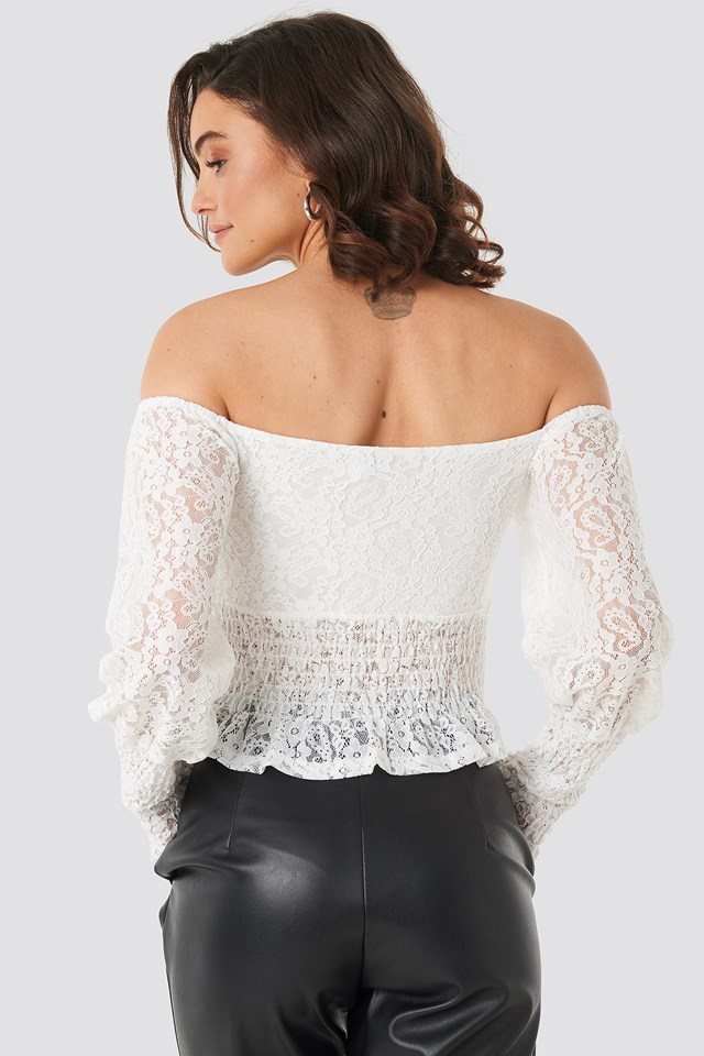 Off Shoulder Smock Lace Top White