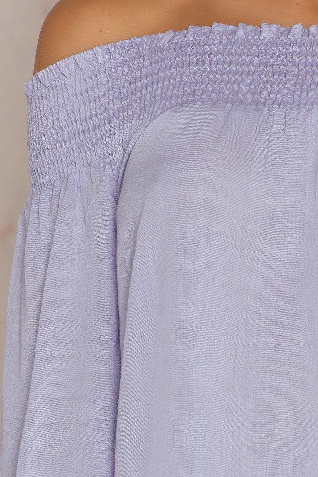 Off Shoulder Smock Top Lavender Blue