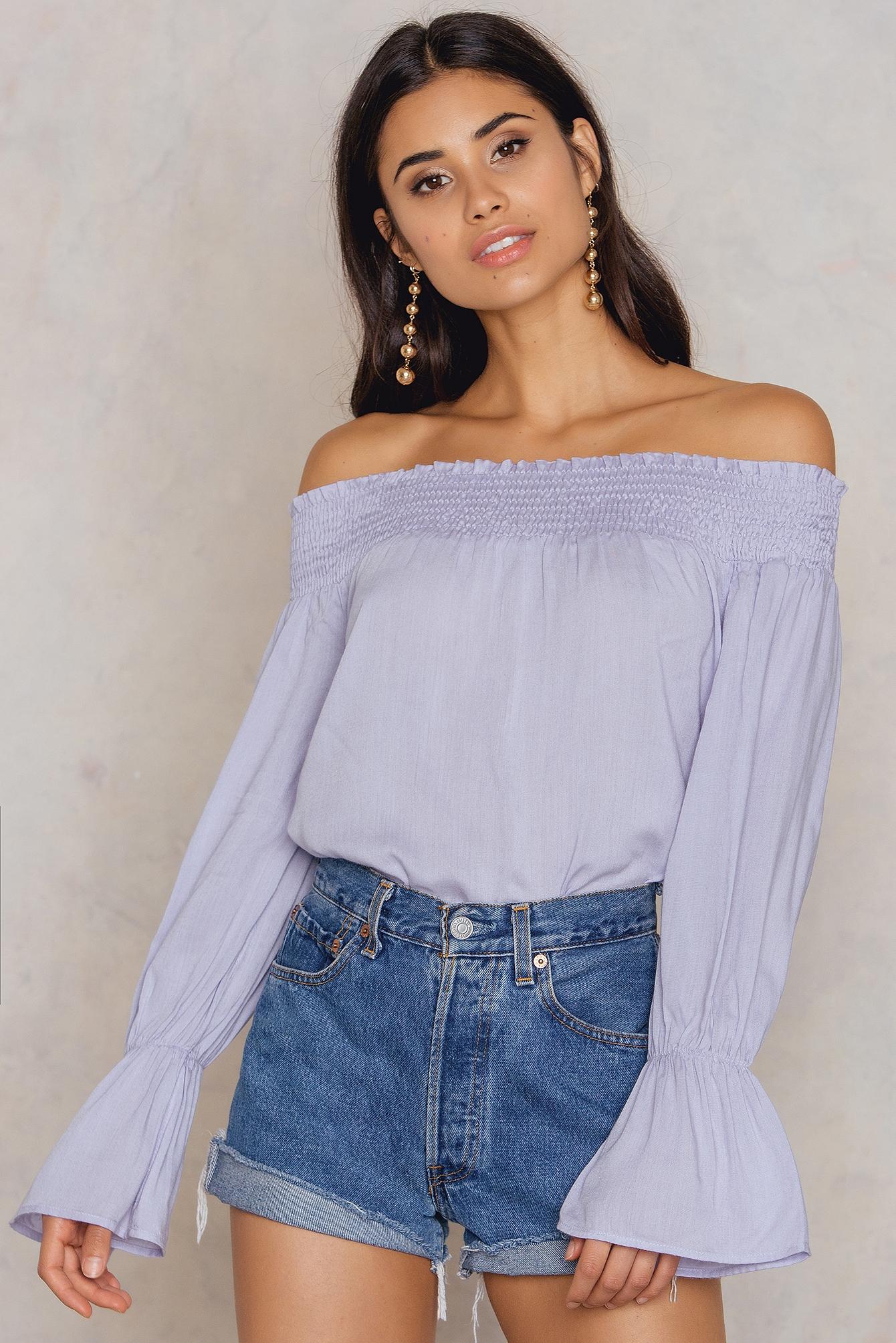 na-kd boho -  Off Shoulder Smock Top - Purple,Blue