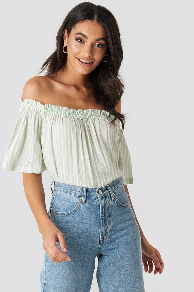 Off Shoulder Striped Top Mint