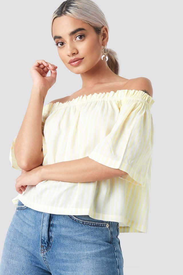 Off Shoulder Striped Top Yellow