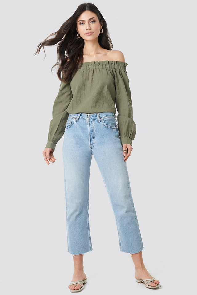 Off Shoulder Structured Blouse Khaki Green