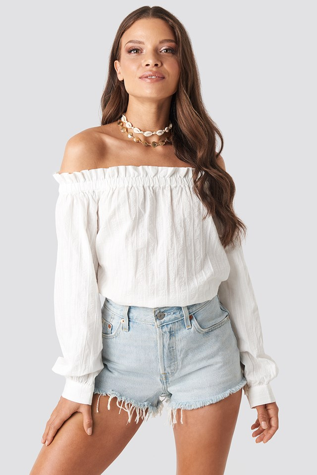 Off Shoulder Structured Blouse White