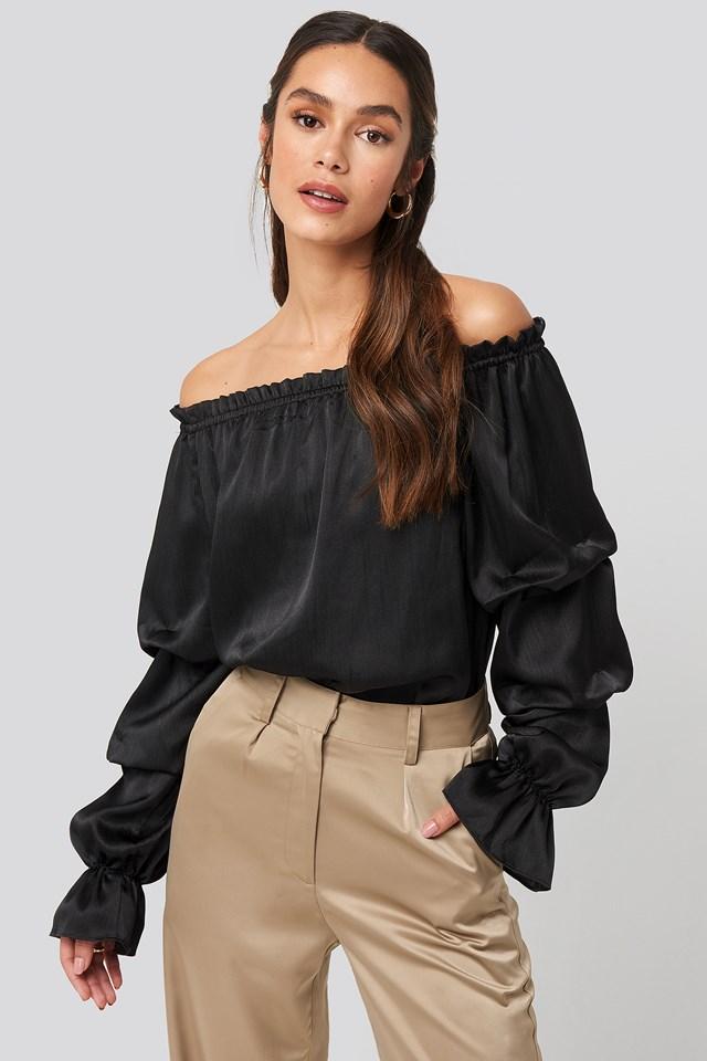 Off Shoulder Structured Satin Blouse Black