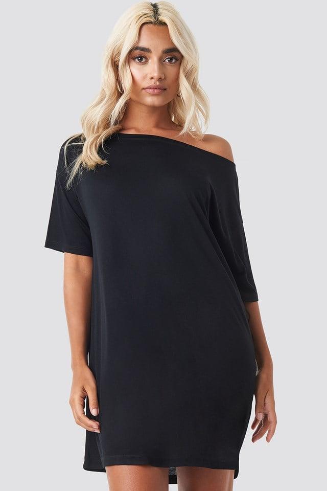 Off Shoulder T-shirt Dress Deep Black