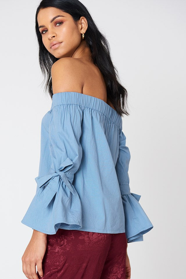 Off Shoulder Tie Sleeve Top Blue Stone