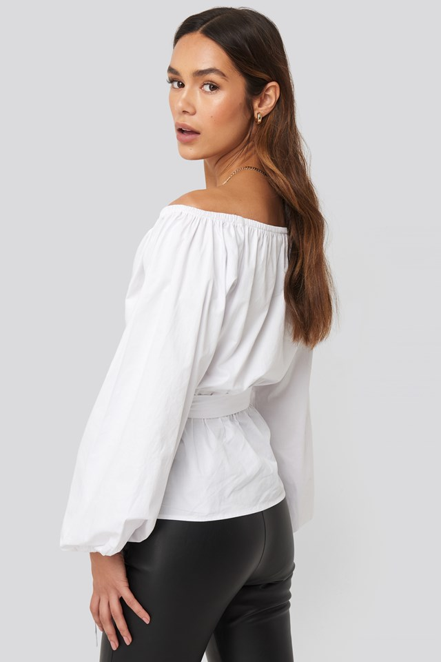 Off Shoulder Tie Waist Blouse White