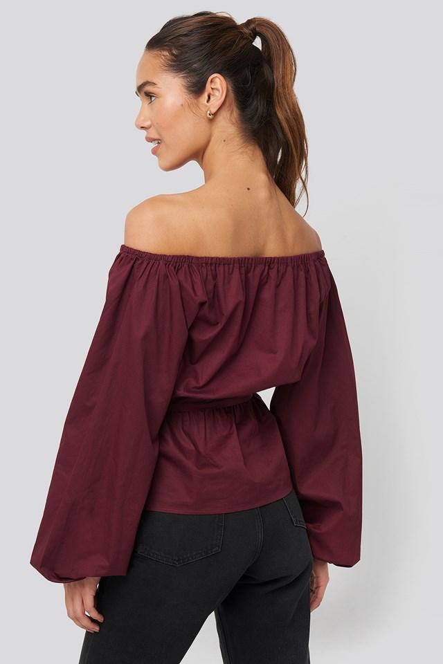 Off Shoulder Tie Waist Blouse Burgundy