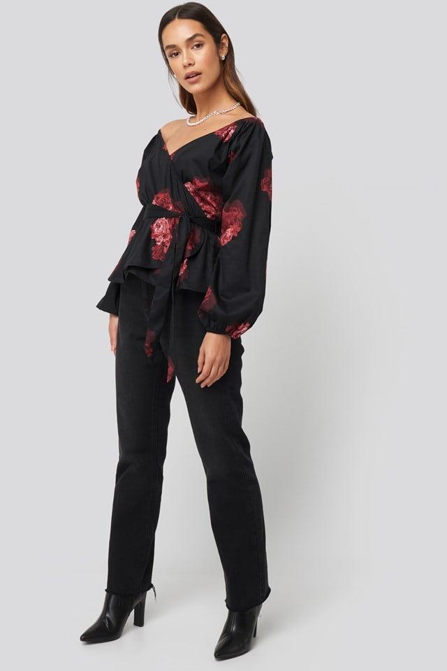 Off Shoulder Tie Waist Blouse Flower Print