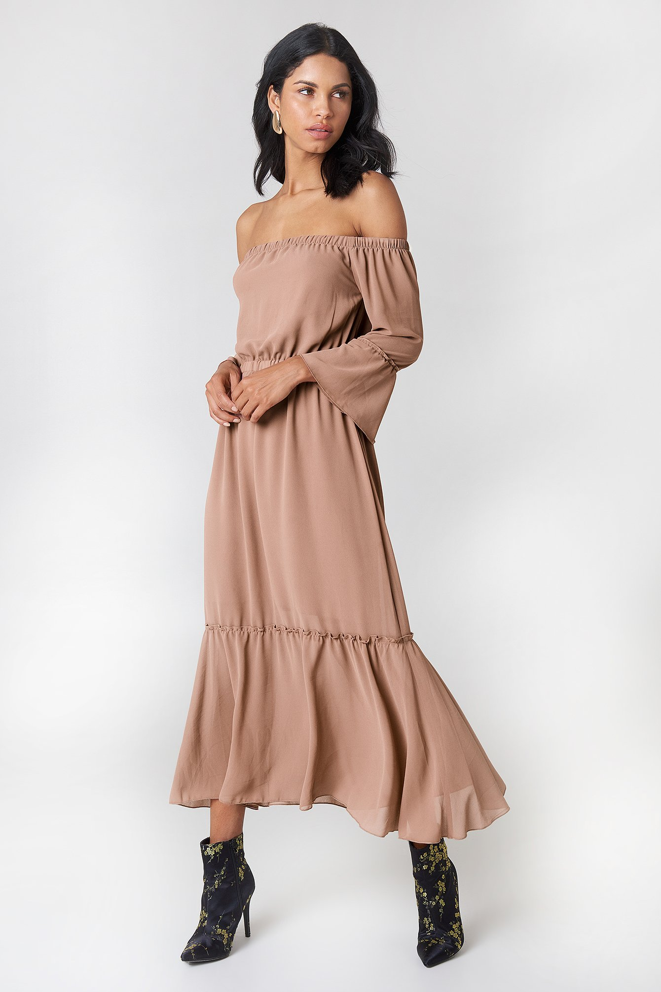 Off Shoulder Trumpet Frill Dress