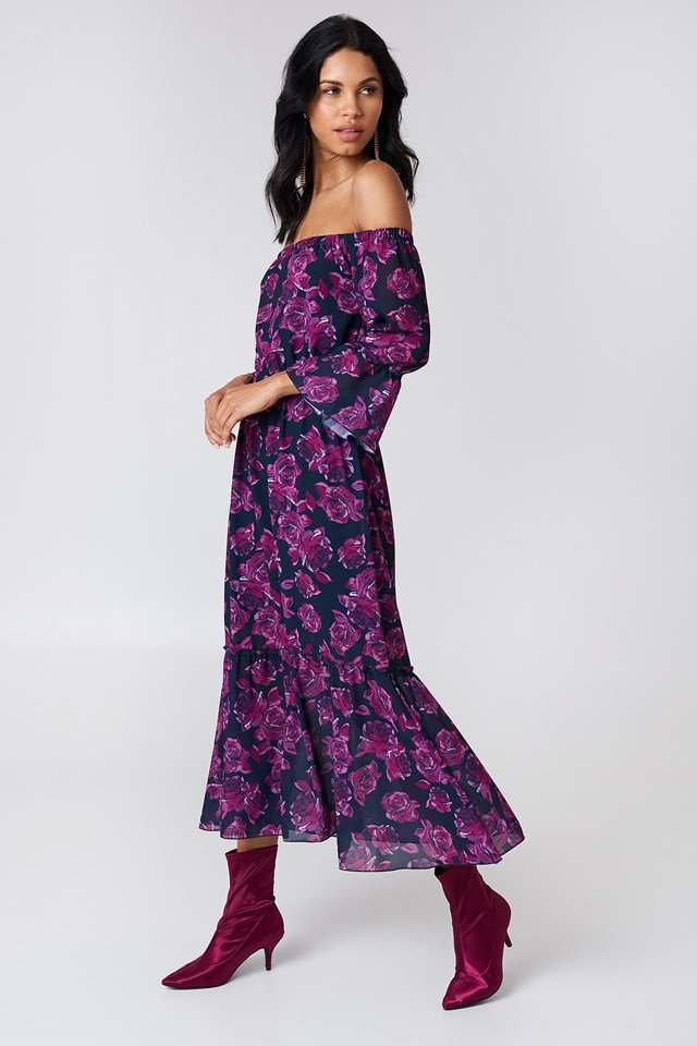 Off Shoulder Trumpet Frill Dress Navy/Purple