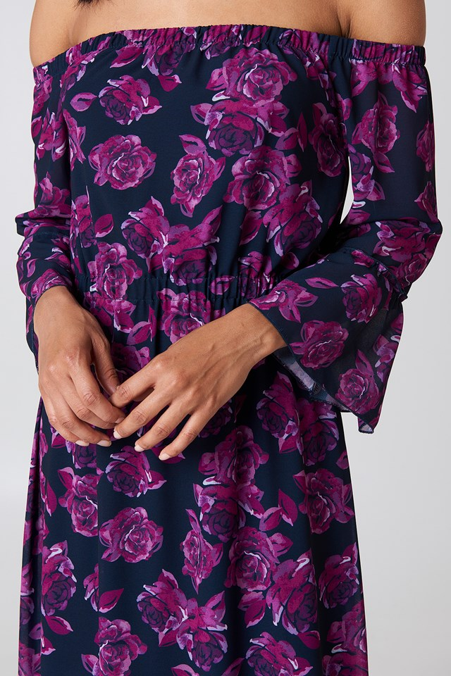 Off Shoulder Trumpet Frill Dress Navy/Purple