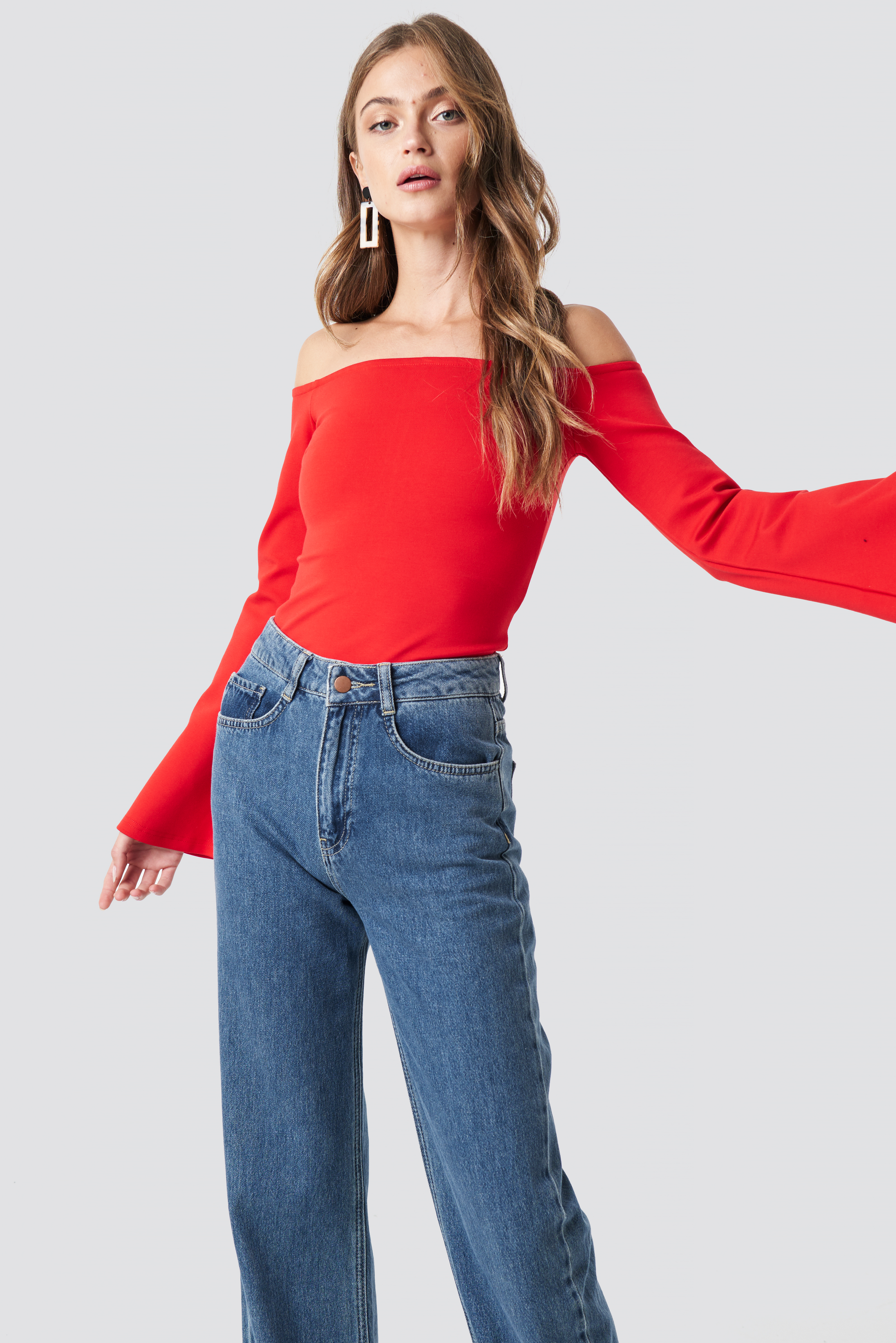 Off Shoulder Trumpet Sleeve Top NA-KD.COM