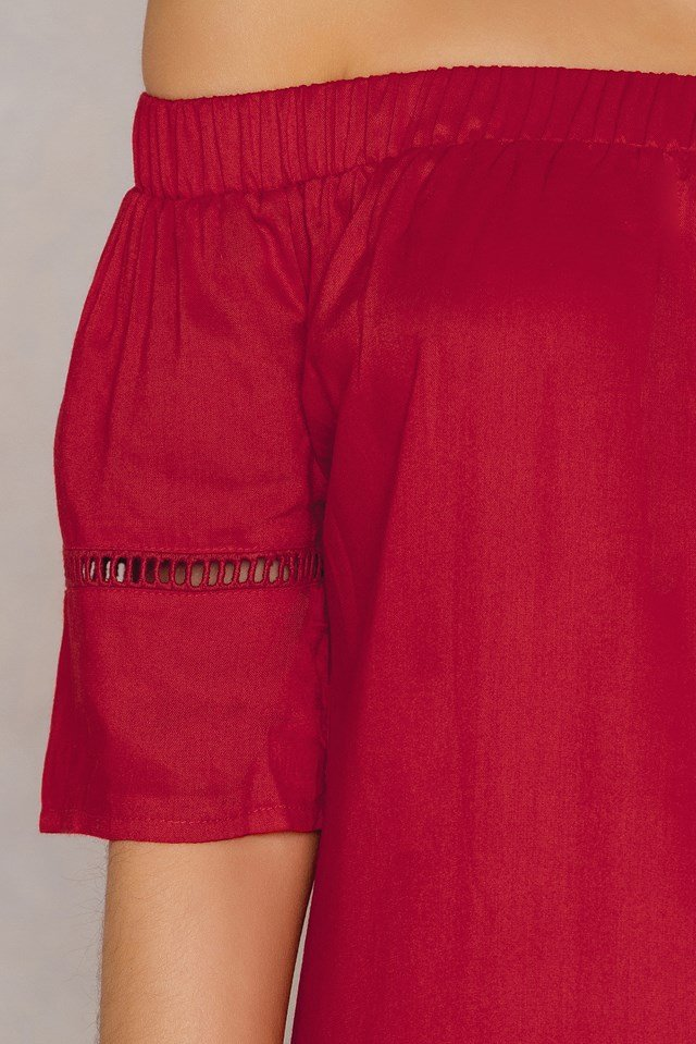 Off Shoulder Tunic Red