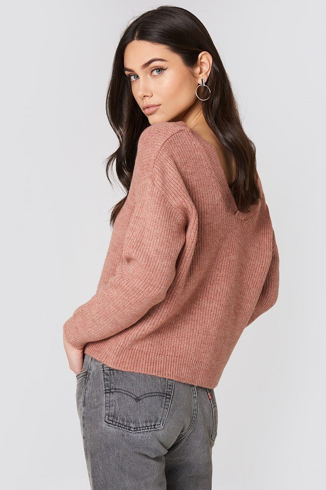Off Shoulder V Knitted Sweater Dusty Pink