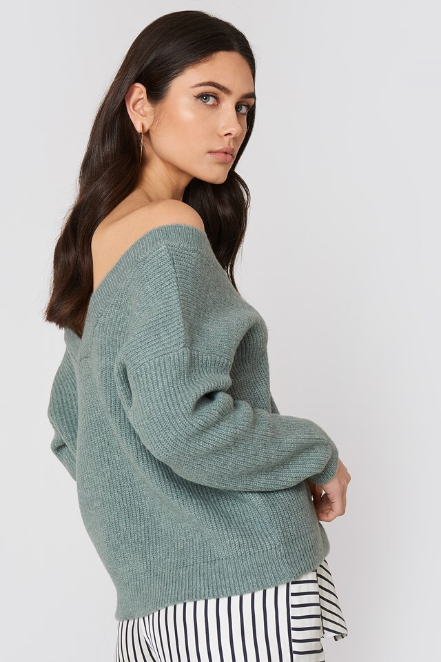 Off Shoulder V Knitted Sweater Duck Green