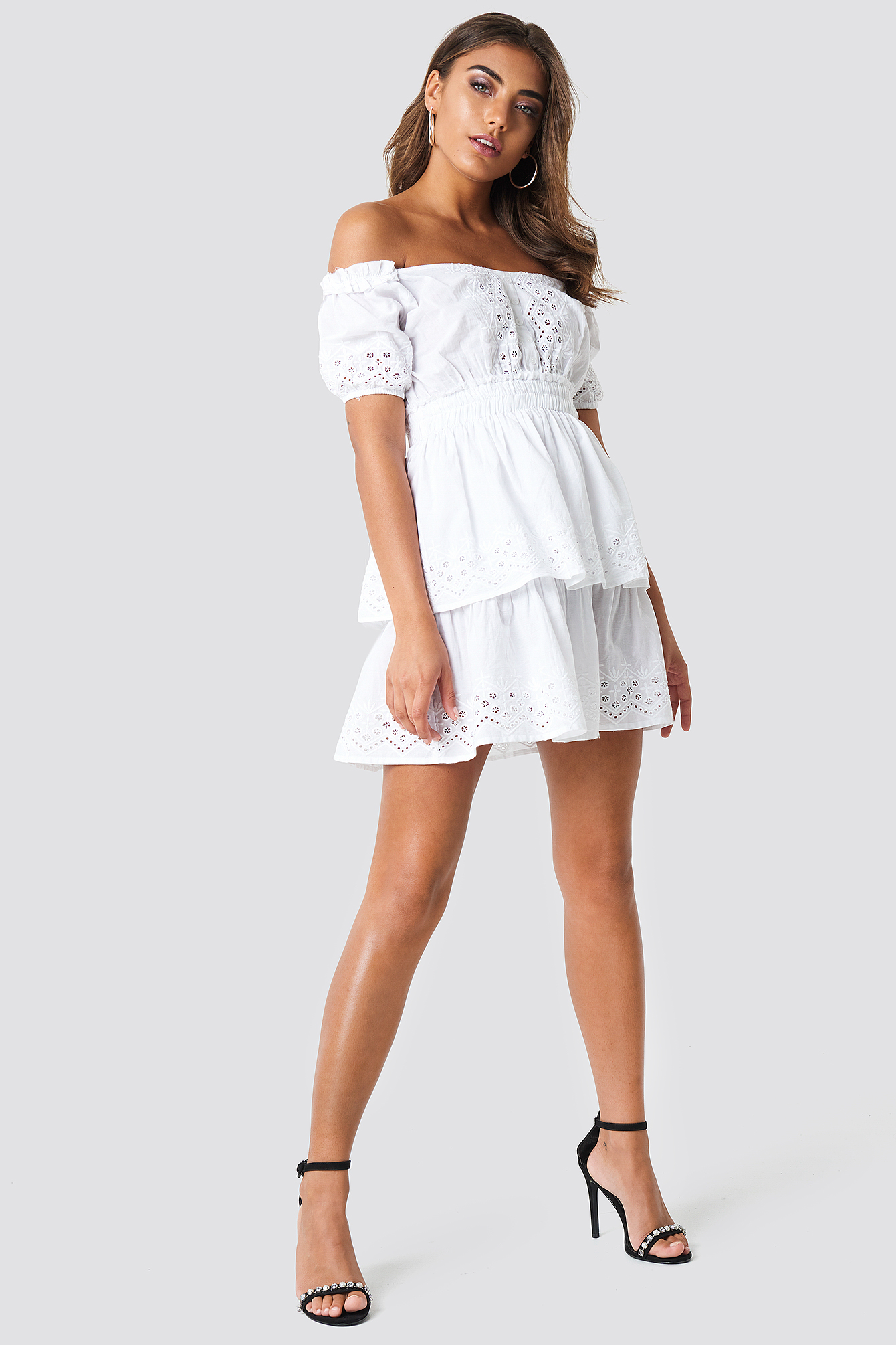 Off Shoulder V Neck Crochet Frill Dress NA-KD.COM