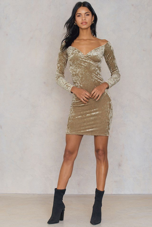 Off Shoulder Velvet Dress Beige