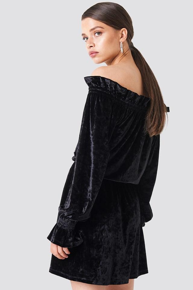 Off Shoulder Velvet Smock Dress Black