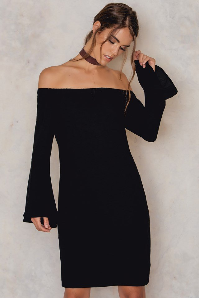 Off Shoulder Woven Wide Sleeve Dress Black