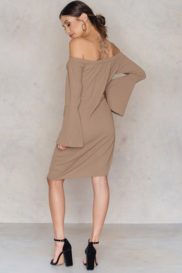 Off Shoulder Woven Wide Sleeve Dress Beige