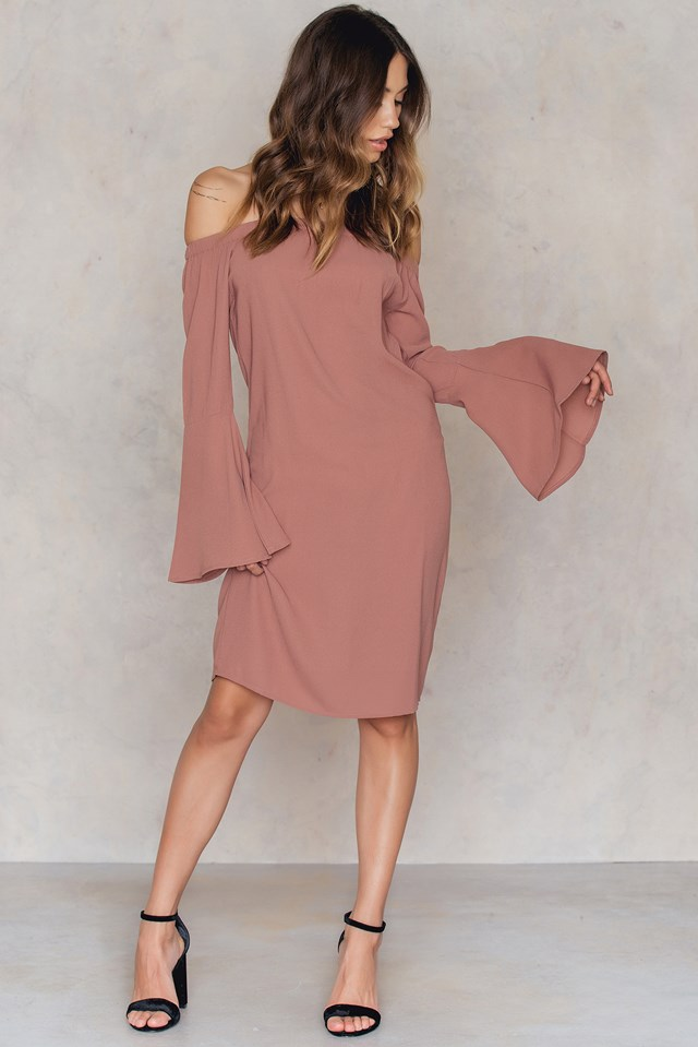 Off Shoulder Woven Wide Sleeve Dress Dusty Pink