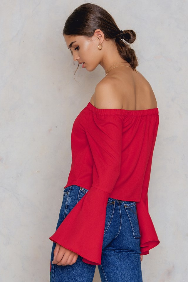 Off Shoulder Woven Wide Sleeve Top Red