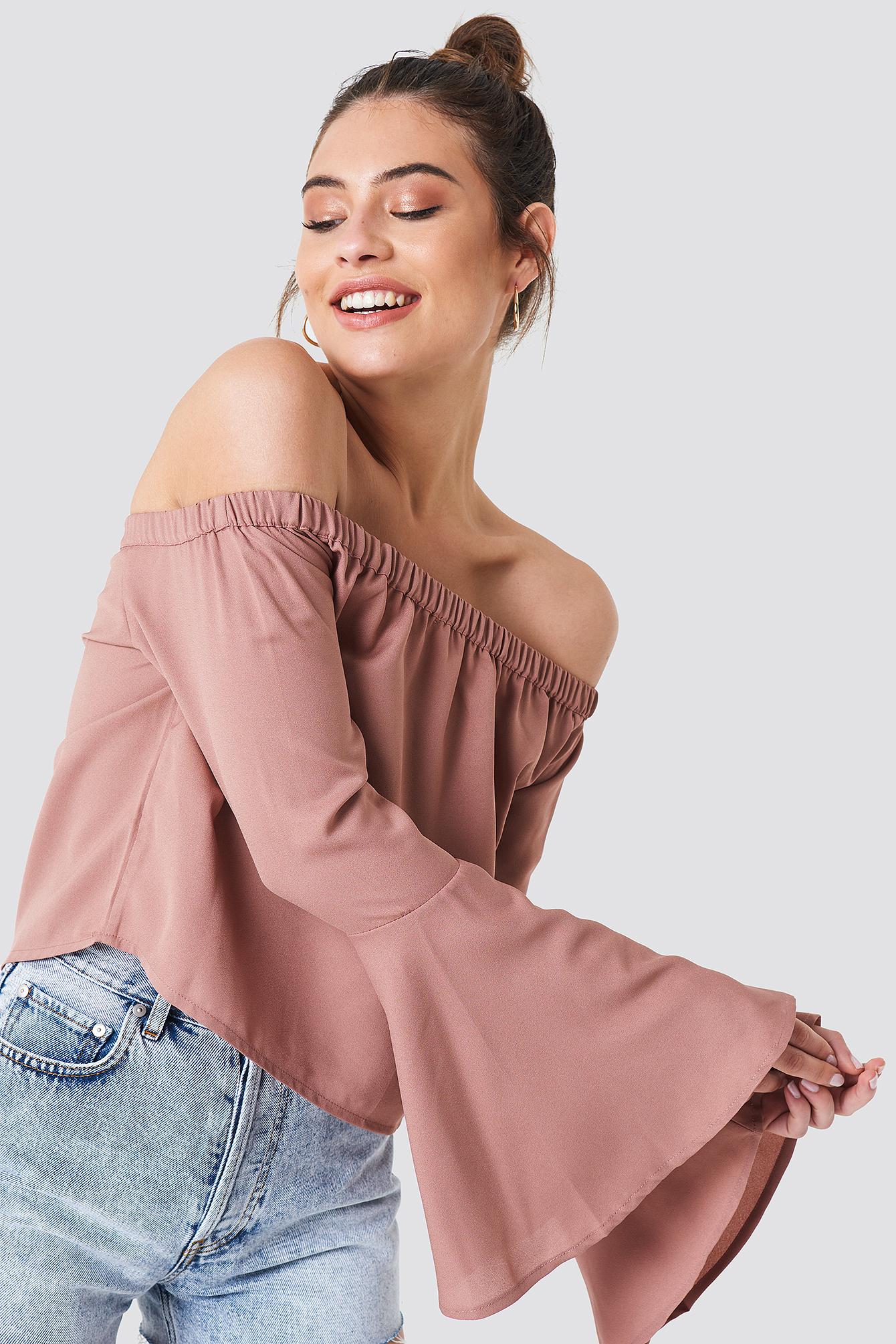 na-kd boho -  Off Shoulder Woven Wide Sleeve Top - Pink