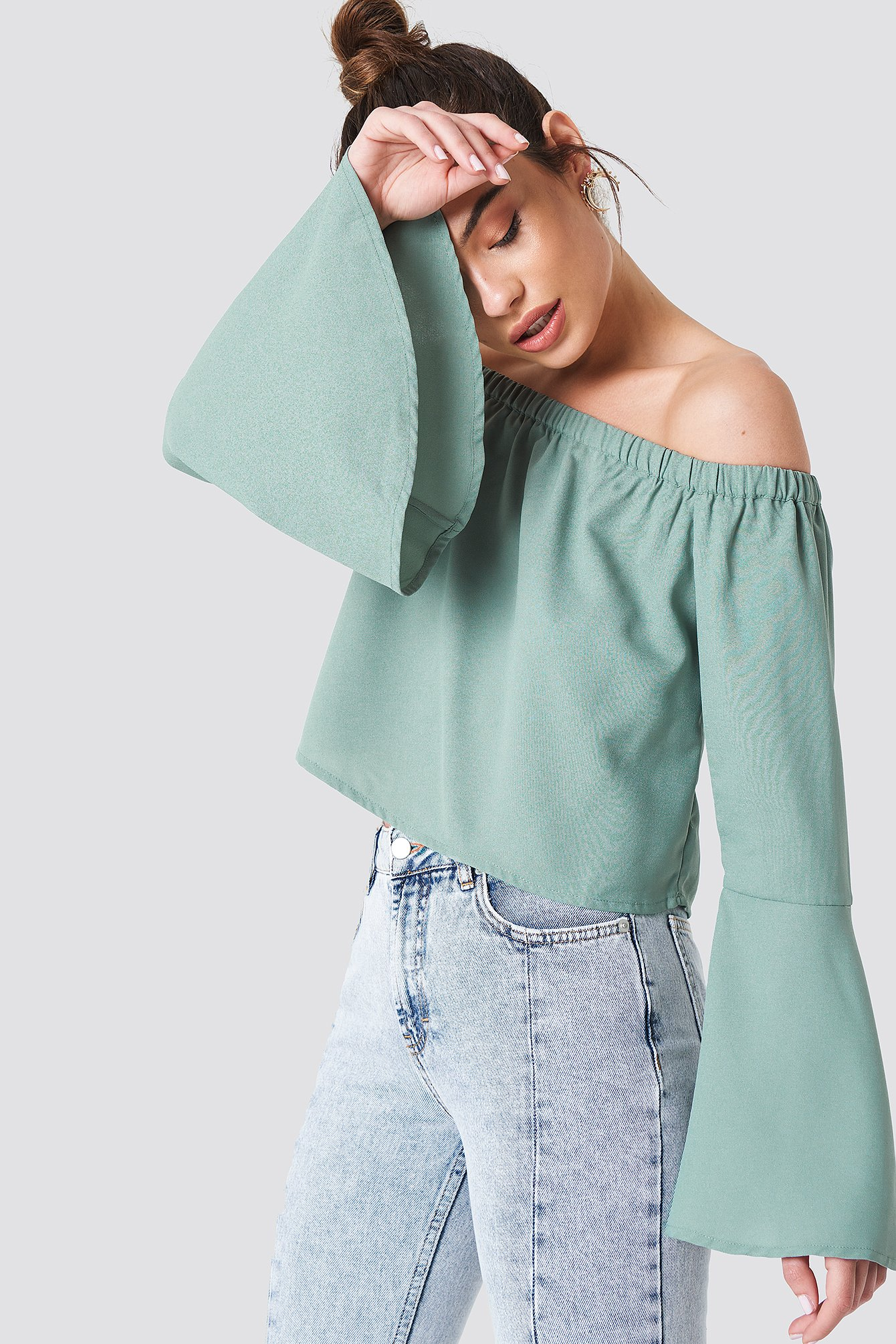 na-kd boho -  Off Shoulder Woven Wide Sleeve Top - Green
