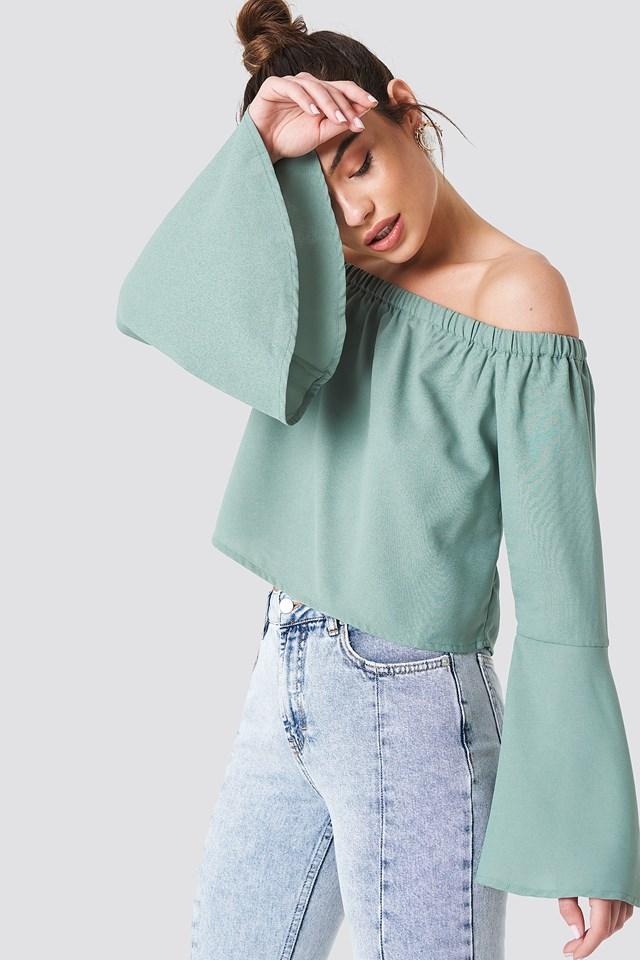 Off Shoulder Woven Wide Sleeve Top NA-KD.COM