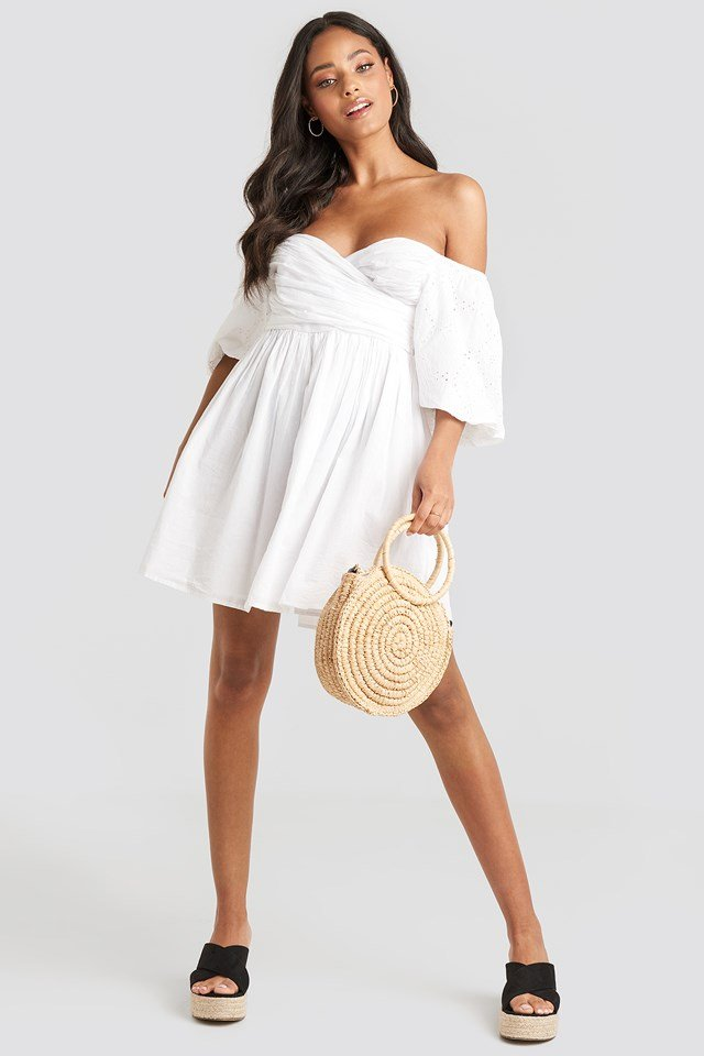 Off Shoulder Wrapped Mini Dress White