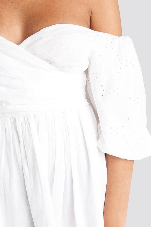 Off Shoulder Wrapped Mini Dress White