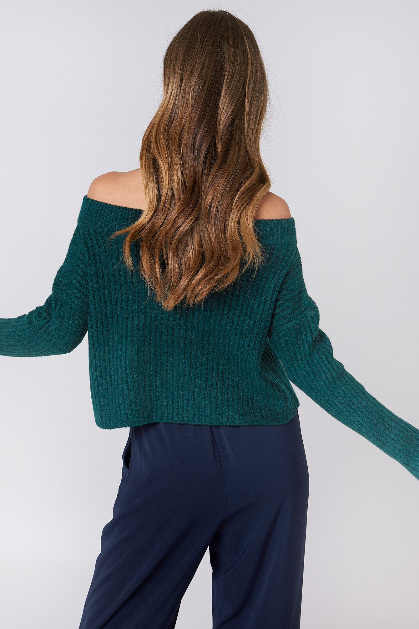 Off Shoulder Rib Knitted Sweater NA-KD.COM