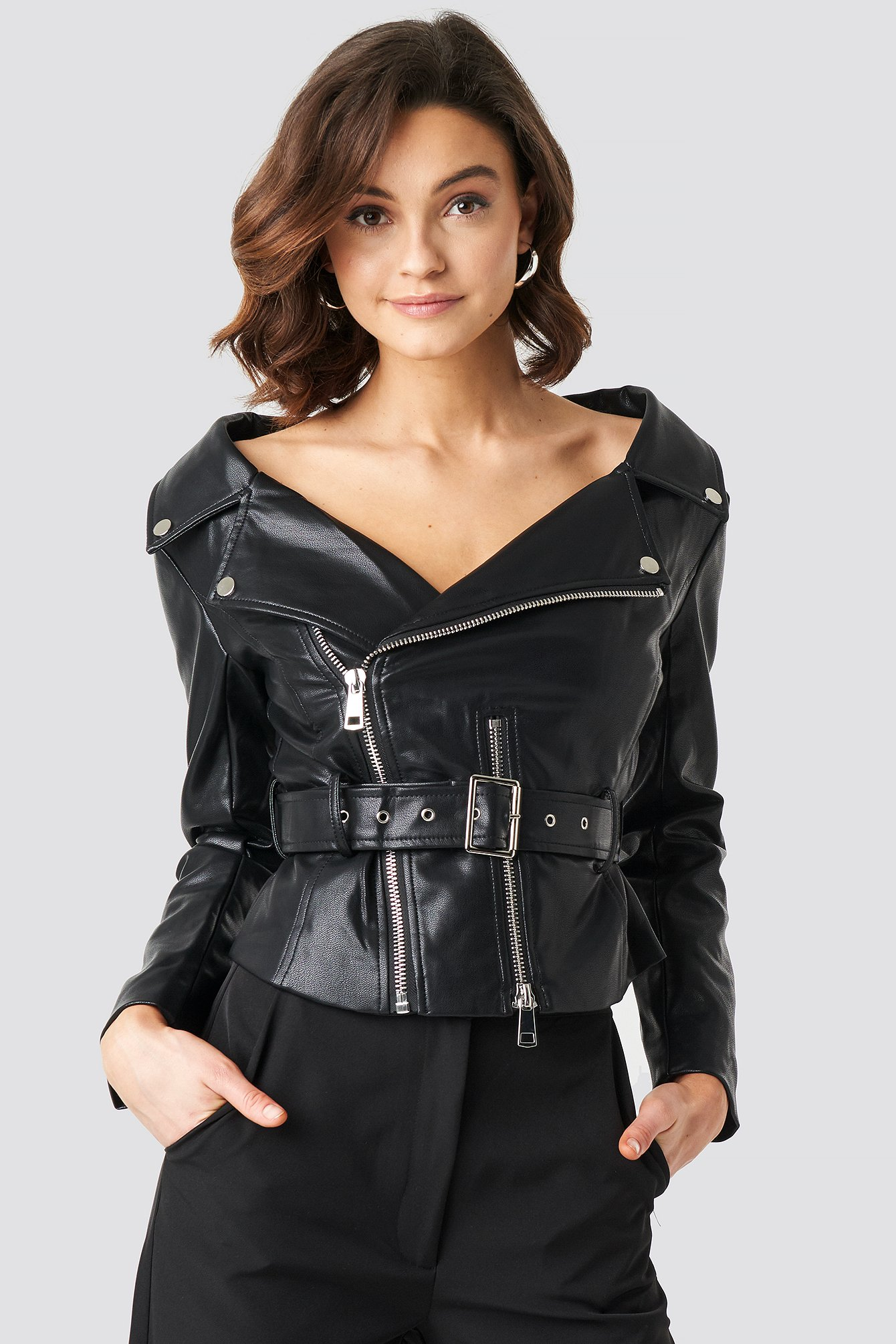 na-kd trend -  Off The Shoulder PU Biker Jacket - Black