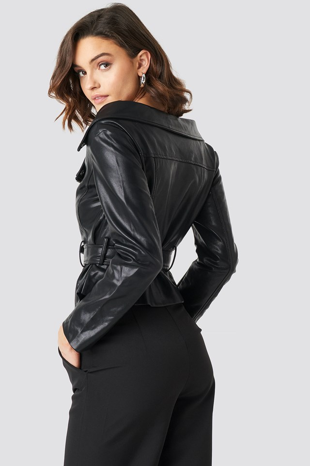 Off The Shoulder PU Biker Jacket Black
