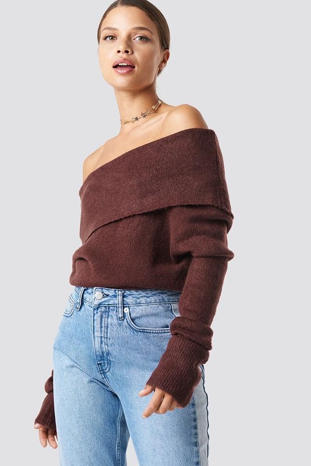 Offshoulder Folded Wide Sweater NA-KD